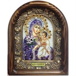 Неувядаемый цвет образ Божией Матери, дивеевская икона из бисера и натуральных камней - фото 9767