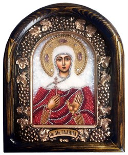 Икона Святая Мученица Галина, дивеевская икона из бисера - фото 9788