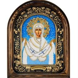 Покров Пресвятой Богородицы, дивеевская икона из бисера ручной работы - фото 9814