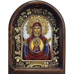 Икона Божьей Матери Знамение, дивеевская икона из бисера ручной работы - фото 9816