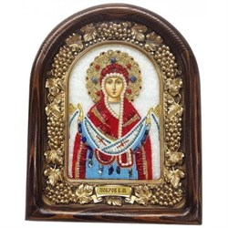 Покров Пресвятой Богородицы, дивеевская икона из бисера ручной работы - фото 9819