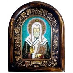 Святитель Тихон, патриарх Московский, дивеевская икона из бисера ручной работы - фото 9822