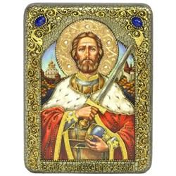 Святой благоверный князь Александр Невский икона ручной работы под старину - фото 9830