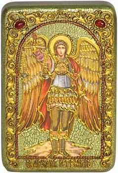 Иеремиил Архангел на мореном дубе икона ручной работы под старину - фото 9930