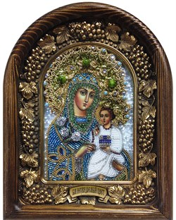 Неувядаемый цвет образ Божией Матери, дивеевская икона из бисера ручной работы - фото 9938