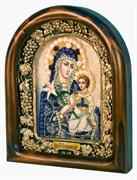 Неувядаемый цвет образ Божией Матери, дивеевская икона из бисера и натуральных камней