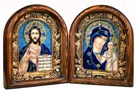 Венчальная пара, дивеевская икона (синий)