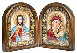 Венчальная пара из бисера, дивеевская икона (красно-синий)