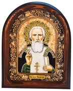 Сергий Радонежский, дивеевская икона из бисера ручной работы