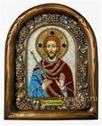 Евгений Святой мученик, дивеевская икона из бисера ручной работы