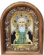 Сергий Радонежский, дивеевская икона из бисера и натуральных камней