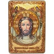 Спас Нерукотворный, икона в авторском стиле на мореном дубе (большая)