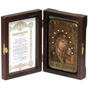 Казанская икона Божьей Матери в авторском стиле на мореном дубе