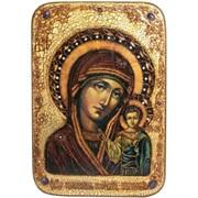 Казанская икона Божьей Матери 29х42 см, в авторском стиле на доске из мореного дуба (Большая)