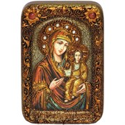 Смоленская (Одигитрия) образ Божьей Матери в авторском стиле на мореном дубе