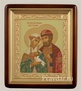 Петр и Феврония икона в киоте 24х29 см