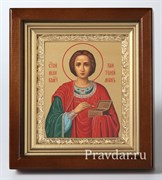 Пантелеймон Святой Великомученик, икона в киоте 16х19 см