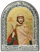 Борис Святой князь, икона с серебряной рамкой