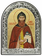 Даниил Московский Святой князь, икона с серебряной рамкой