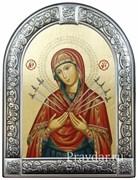 Семистрельная образ Божьей Матери, икона с серебряной рамкой