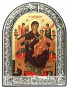 Всецарица образ Божьей Матери, икона с серебряной рамкой