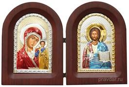 Складень Казанская БМ и Спас Премудрый, икона с серебряным окладом
