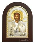 Спас Премудрый, греческая икона с серебряным окладом без эмали