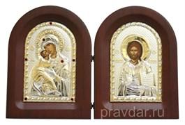 Складень Владимирская БМ и Спас Премудрый, икона с серебряным окладом