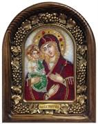 Троеручица Божья Матерь, дивеевская икона из бисера