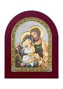 Святое Семейство, серебряная икона деревянный оклад цветная эмаль