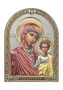 Казанская Божия Матерь, серебряная икона с позолотой и цветной эмалью