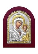 Казанская Божия Матерь, серебряная икона деревянный оклад