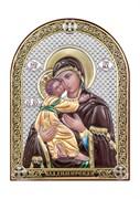 Владимирская Божия Матерь, серебряная икона с позолотой и цветной эмалью