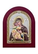Владимирская Божия Матерь, серебряная икона деревянный оклад цветная эмаль