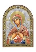 Семистрельная Божия Матерь, серебряная икона с позолотой и цветной эмалью