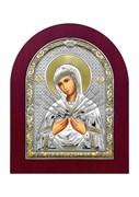 Семистрельная Божия Матерь, серебряная икона деревянный оклад