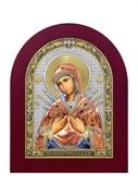 Семистрельная Божия Матерь, серебряная икона деревянный оклад цветная эмаль