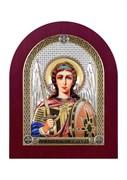 Михаил Архангел, серебряная икона деревянный оклад цветная эмаль
