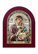 Страстная Божия Матерь, серебряная икона деревянный оклад цветная эмаль
