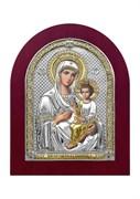 Скоропослушница Божия Матерь, серебряная икона деревянный оклад