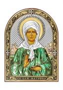 Матрона Московская, серебряная икона с позолотой и цветной эмалью