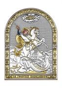 Георгий Победоносец, серебряная икона с позолотой