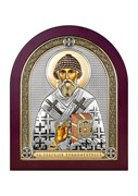 Спиридон Тримифунтский, серебряная икона деревянный оклад цветная эмаль