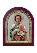 Пантелеймон целитель, серебряная икона деревянный оклад цветная эмаль
