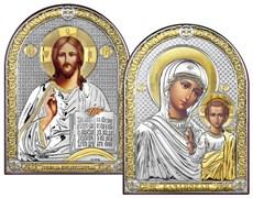 Венчальная пара серебряные иконы с позолотой (Казанская)