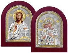 Венчальная пара, серебряные иконы с позолотой в деревянной рамке (Владимирская)
