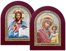 Венчальная пара, серебряные иконы с позолотой и цветной эмалью в деревянной рамке (Казанская)