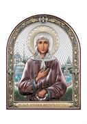 Ксения Петербургская, серебряная икона с позолотой и цветной эмалью