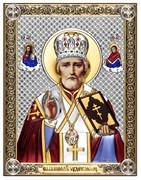 Николай Чудотворец, серебряная икона с позолотой и цветной эмалью на дереве (Beltrami)