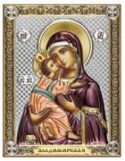 Владимирская Божия Матерь, серебряная икона с позолотой и цветной эмалью на дереве (Beltrami)
